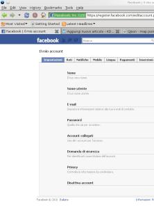 impostazione account facebook